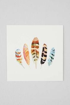 Sarah B. Martinez 5 Feathers #5 Art Print - Urban Outfitters. paint something like this