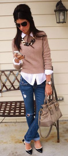 how to wear ripped jeans : nude top + white shirt + bag + loafers