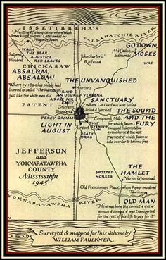 "Faulkner cartographiait ses livres, magnifiques dessins... The setting for William Faulkner's Yoknapatawpha novels — he referred to the place as ""my apocryphal county."""