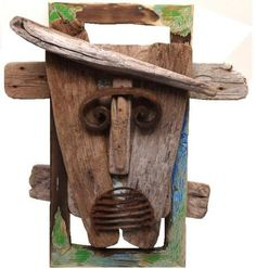 Cool Art Projects, Wood Projects, Driftwood Candle Holders, Driftwood Sculpture, Found Art, Wood Colors, Yard Art, Wood And Metal, African Art