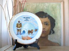 Vintage Souvenir Alaska Plate Inuit Sled Dogs Igloo by lookonmytreasures on Etsy