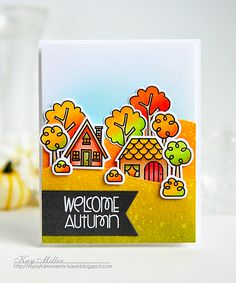 Welcome Home card by Kay Miller - Bitty Bungalows stamps and dies, Promenade stamps and dies