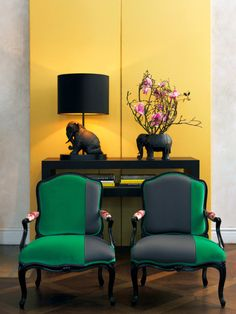 asymmetrical color for classic chairs | via High-Impact Design ~ Cityhaüs Design