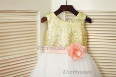 Gold Sequin IvoryTulle Flower Girl Dress Blush Pink by knothouses