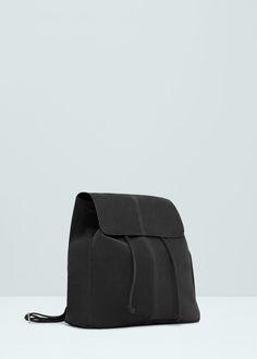 Skórzany plecak z klapką | MANGO