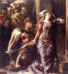 Jan Matejko, Dymitr z Goraja wstrzymujący Jadwigę od wyłamania drzwi na zamku królewskim w Krakowie.15 sierpnia 1378 polska królewna Jadwiga została zaręczona z austriackim księciem Wilhelmem Habsburgiem. Odbyła się nawet ceremonia ślubu pomiędzy dziećmi z pokładzinami.  23 sierpnia 1385 Jadwiga i Wilhelm postanowili potwierdzić w Krakowie swe wcześniejsze zaślubiny. Ale panowie polscy, byli przeciwni temu małżeństwu. Wówczas Jadwiga wpadła na pomysł pokładzin, czyli konsumpcji cielesnej.