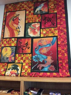 Japanese themed quilt.  At 'In Stitches' in Goodyear, AZ.