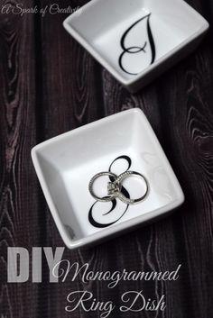 DIY Monogrammed Ring Dish - A Spark of Creativity