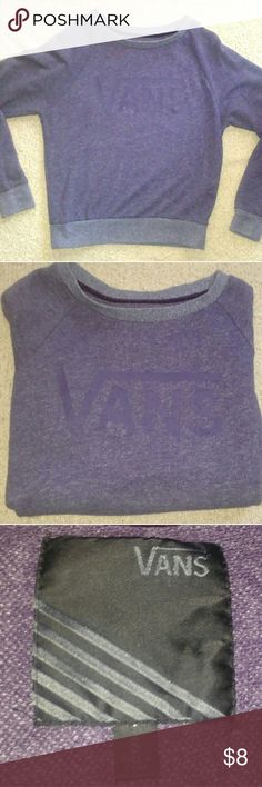 Purple vans sweatshirt Purple vans sweatshirt gently used. It has one tiny hole as pictured,it is hardly noticeable. Vans Sweaters