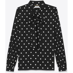 Saint Laurent Long Sleeve Lavaliere Blouse ($1,620) ❤ liked on Polyvore featuring tops, blouses, sleeve blouse, long sleeve blouse, blouson top, long blouse and long sleeve tops