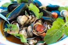 """A great """"Meatless Monday"""" meal is a heaping bowl of mussels & clams in white wine with crusty bread & a bottle of crisp Verdicchio D...."""