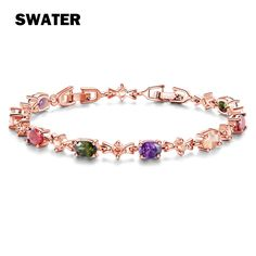SWATER Fashion Wedding Jewelry Colorful Cubic Zirconia Crystal Gold Color Link Chain Bracelets & Bangles For Women jewelrys Gift #Affiliate