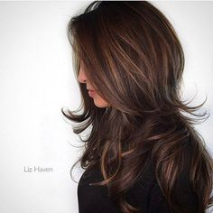Balayage Hair Color Ideas in Brown to Caramel Tones Long Layered Hair, Long Layed Hair Cuts, Layered Haircuts For Long Hair, Great Hair, Pretty Hairstyles, Layered Hairstyles, Hairstyles 2018, Easy Hairstyles, Latest Hairstyles
