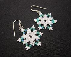 Items similar to Snowflake Earrings - Seed Bead Earrings - Star Earrings - Seed Bead Snow Flake Earrings Sterling Silver Ear Wires on Etsy Beaded Earrings Patterns, Seed Bead Earrings, Star Earrings, Seed Beads, Beaded Jewelry, Diamond Earrings, Bead Patterns, Cross Earrings, Beaded Bracelet