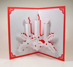 CHRISTMAS CANDLES 3D Pop Up Greeting Card Home Décor by BoldFolds, $15.00