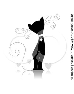An Ornate Black And White Cat Design With Hearts By BNP Studio