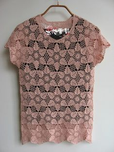 Crochet blouse  - Pink - See diagram for motif also here