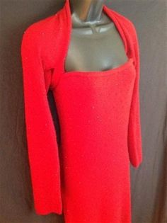 SHE by Sheri Bodell~Cashmere Strapless Sweater Dress with Long Sleeve Sweater, Red Glass Bead Encrusted ~ Size USA 8 / UK 12