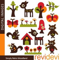 Clip art Woodland Animals - Simply Retro Woodland clipart set features deers, squirrels, trees, flowers, and more fun graphic elements.Buy in bundle, and you will save a lot!Link-Complete Animals Clip art (3 packs)This cute digital clipart set is great for teachers and educators.