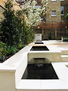 POSM Note: Reserve Tank [RT] (highest step), Fish Tank [FT] (next highest step), Grow Beds [GBs] (food growing middle steps), Auxilliary Tank [AT] (lowest step with pump to pump to RT to start over). What if these ideas could look like this? Modern Water Feature, Backyard Water Feature, Ponds Backyard, Contemporary Garden Design, Contemporary Landscape, Modern Design, Landscape Plans, Landscape Design, Landscape Architecture