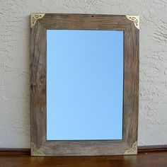 Reclaimed Wood Mirror with Gold Metal Corners. by AbeloCustomSigns