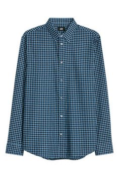 Long-sleeved shirt in woven cotton fabric with a turn-down collar. Classic button placket, yoke at back, and narrow cuffs with adjustable buttoning. Blue Check, Cool Rooms, Cotton Fabric, Woven Cotton, Long Sleeve Shirts, Shirt Dress, Fitness, Mens Tops, Cuffs