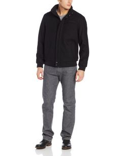 Calvin Klein Men's Bomber, Black, Small Zip front and snap closure. Fashion gromets.  #Calvin_Klein #Apparel