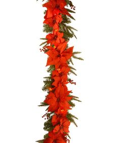 Look what I found on #zulily! Red Poinsettia Lighted Garland #zulilyfinds