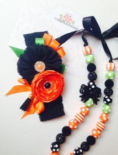 Halloween headband and necklase set , halloween hwadband , orange and black headband  by Cutiesdressup on Etsy