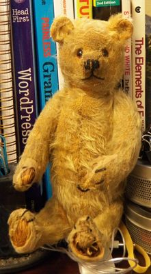 """Antique 10"""" Mohair Bear with Restored Face"""