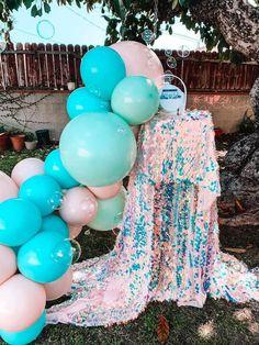 Turquoise and Pink Mermaid Birthday Party on Kara's Party Ideas | KarasPartyIdeas.com (9) Mermaid Party Decorations, Mermaid Parties, Balloon Decorations, Birthday Party Decorations, Birthday Parties, Themed Parties, 3rd Birthday, Mermaid Pool, Mermaid Kids