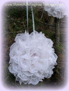 The Enchanting Rose: Lace Snowflake Christmas Ornaments Diy Lace Ornaments, Snowflake Ornaments, Diy Christmas Ornaments, Snowflakes, Christmas Packages, Lace Flowers, Rose Lace, Christmas String Lights, Lace Ribbon