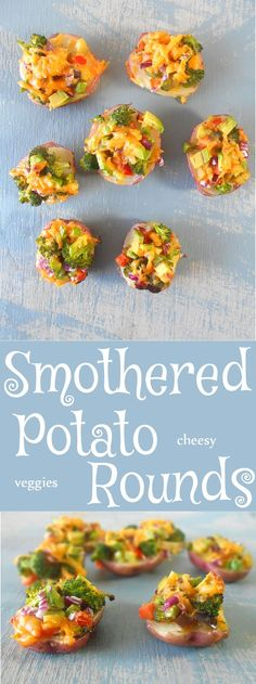 Potato rounds smothered with Roasted Vegetables and melted cheese. Easy Recipe and perfect recipe for Father's day BBQ.