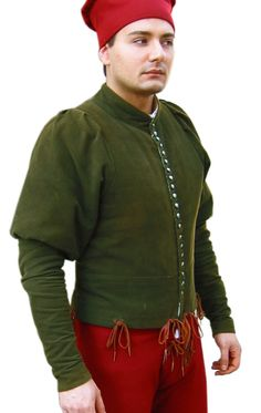 Doublet with buttons of 1400, Medieval - Medieval Clothing - Medieval Costume (Man) - Model is copied from those found in the works of Piero della Francesca and other Italian artists of the '400.