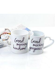 good morning mugs- cute gift!