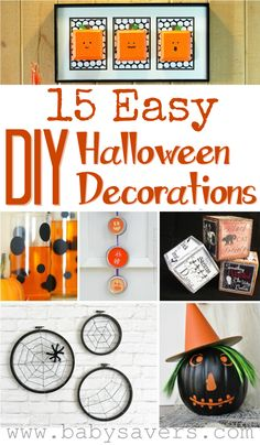 Make your own Halloween decorations with these DIY Halloween decoration tutorials!  My favorite is the skeleton hand wreath, but it's not shown in this picture.