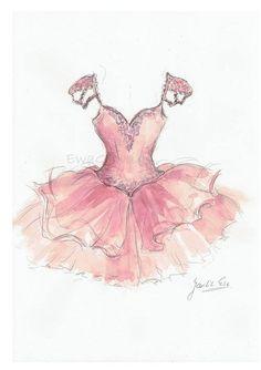 Pink Gown Print Ballgown Art Print Watercolor Girl Dress