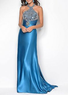 Fashionable Stretch Satin & Tulle Sheath High Neck Embellished Full Length Evening Gown