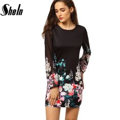 SheIn 2016 Summer Style High Street Fashion Party Dresses Multicolor Long Sleeve Round Neck Floral Chiffon Short Sexy Dress