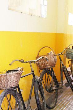 bikes, bikes! #bike #yellow #basket