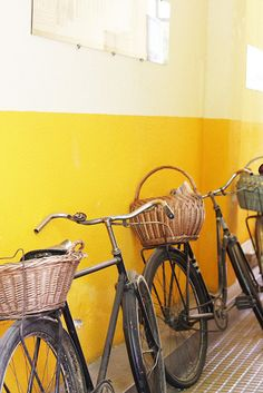 bikes, bikes! #bike #yellow #basket