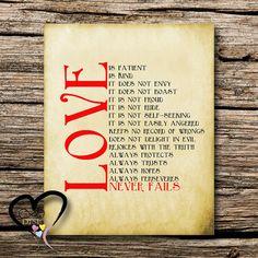 24 HR SALE 50% 1st Corinthians 13 Love is by InfiniteLoveDesign