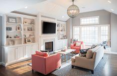Custom built ins in transitional living room