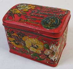 ca1900 SMALL VINTAGE RUSSIAN IMPERIAL TEA DOMED TIN BOX CHEST ART NOUVEAU DESIGN
