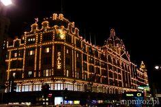 Harrods at night in London