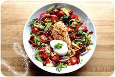 lindastuhaug | Kyllingsalat med bønner og kvitløksdressing
