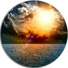 """DesignArt 'Yellow Sunset in the Middle of Ocean' Photographic Print on Metal Size: 11"""" H x 11"""" W x 1"""" D"""