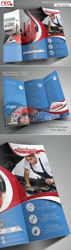 Auto Repair Trifold Brochure Template