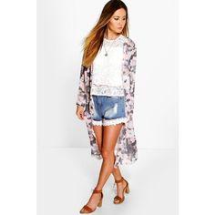 Boohoo Bonnie Mixed Floral Maxi Chiffon Kimono ($30) ❤ liked on Polyvore featuring outerwear, jackets, multi, bomber jacket, floral chiffon kimono, floral kimono, kimono jacket and cropped jacket