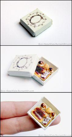 Miniature Pastry Box by Bon-AppetEats.deviantart.com on @deviantART